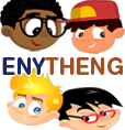 The ENYTHENG comic strip is about four mischievous kids who befriend a black superhero from the twin planet MelaTone.